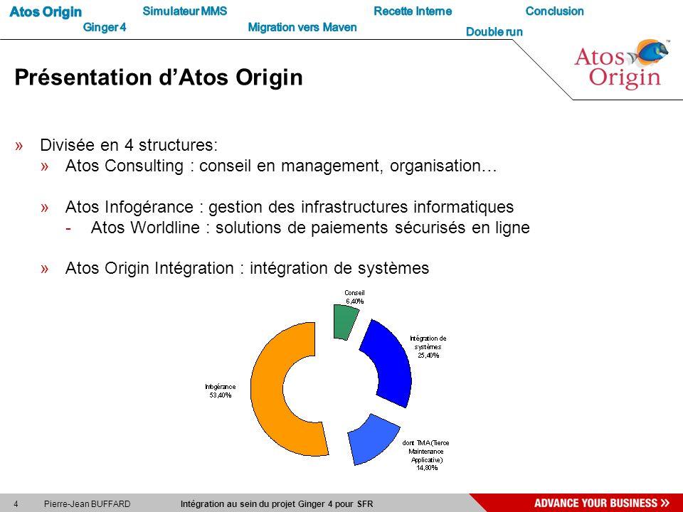 4 Pierre-Jean BUFFARD Intégration au sein du projet Ginger 4 pour SFR Présentation dAtos Origin »Divisée en 4 structures: »Atos Consulting : conseil e