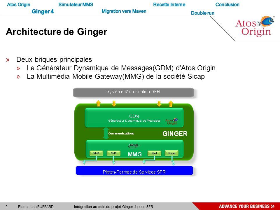 9 Pierre-Jean BUFFARD Intégration au sein du projet Ginger 4 pour SFR Architecture de Ginger »Deux briques principales »Le Générateur Dynamique de Mes