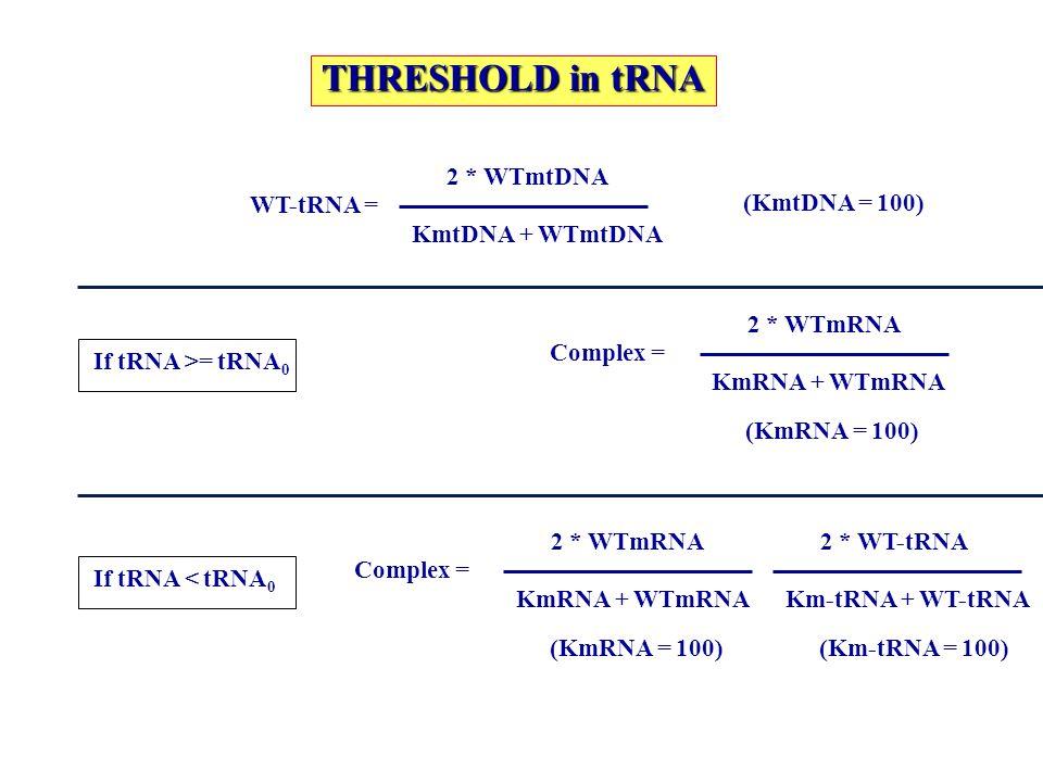 THRESHOLD in tRNA WT-tRNA = 2 * WTmtDNA KmtDNA + WTmtDNA (KmtDNA = 100) Complex = 2 * WTmRNA KmRNA + WTmRNA (KmRNA = 100) If tRNA >= tRNA 0 Complex =