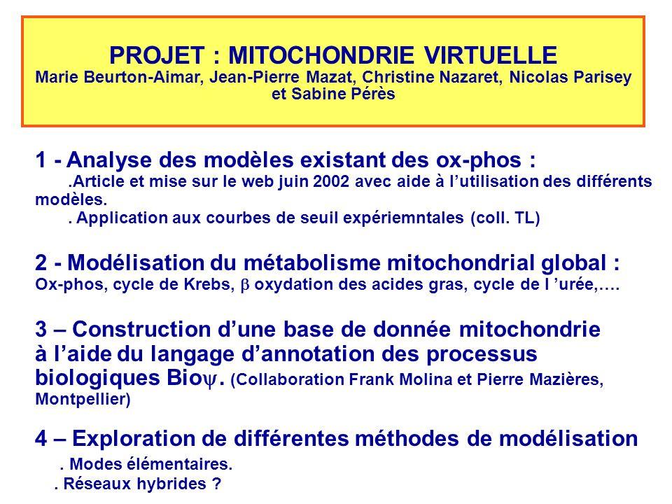 PROJET : MITOCHONDRIE VIRTUELLE Marie Beurton-Aimar, Jean-Pierre Mazat, Christine Nazaret, Nicolas Parisey et Sabine Pérès 1 - Analyse des modèles exi