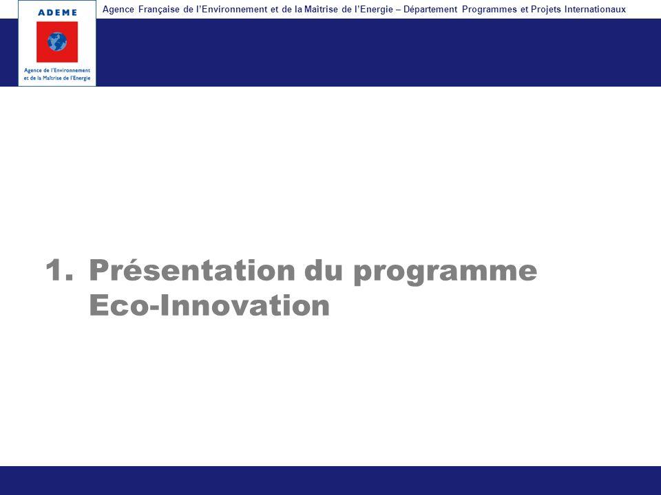 Agence Française de lEnvironnement et de la Maîtrise de lEnergie – Département Programmes et Projets Internationaux Fil dariane 1.Présentation du prog