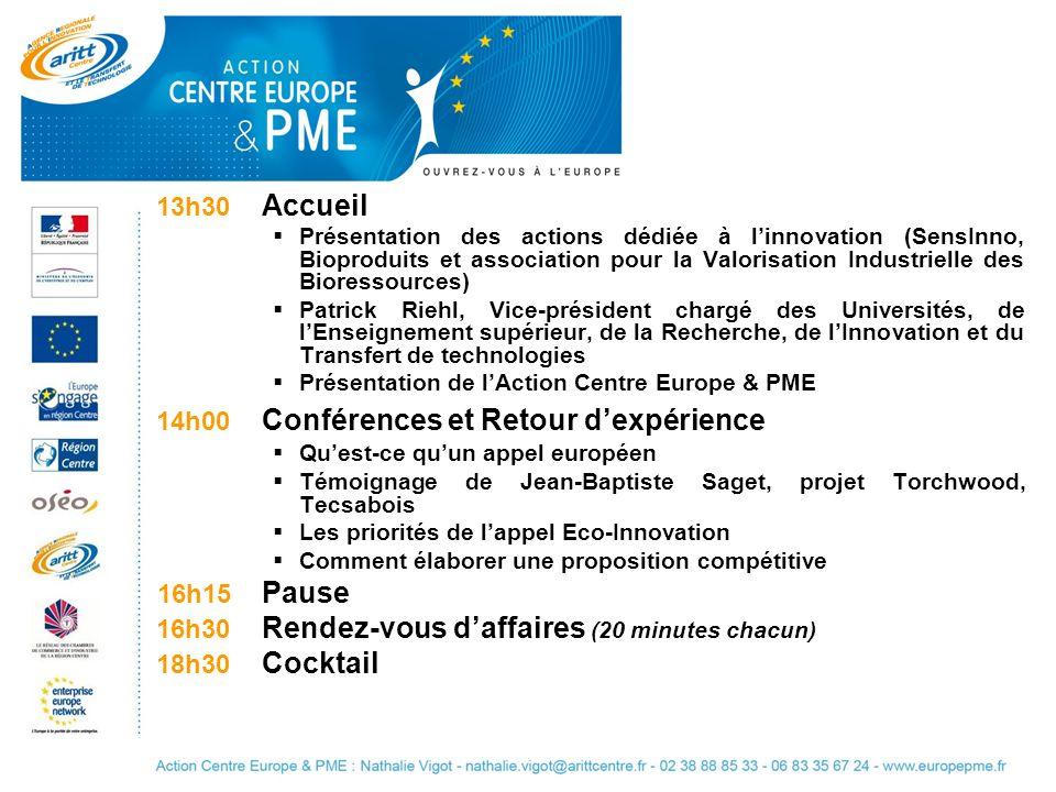 13h30 Accueil Présentation des actions dédiée à linnovation (SensInno, Bioproduits et association pour la Valorisation Industrielle des Bioressources)