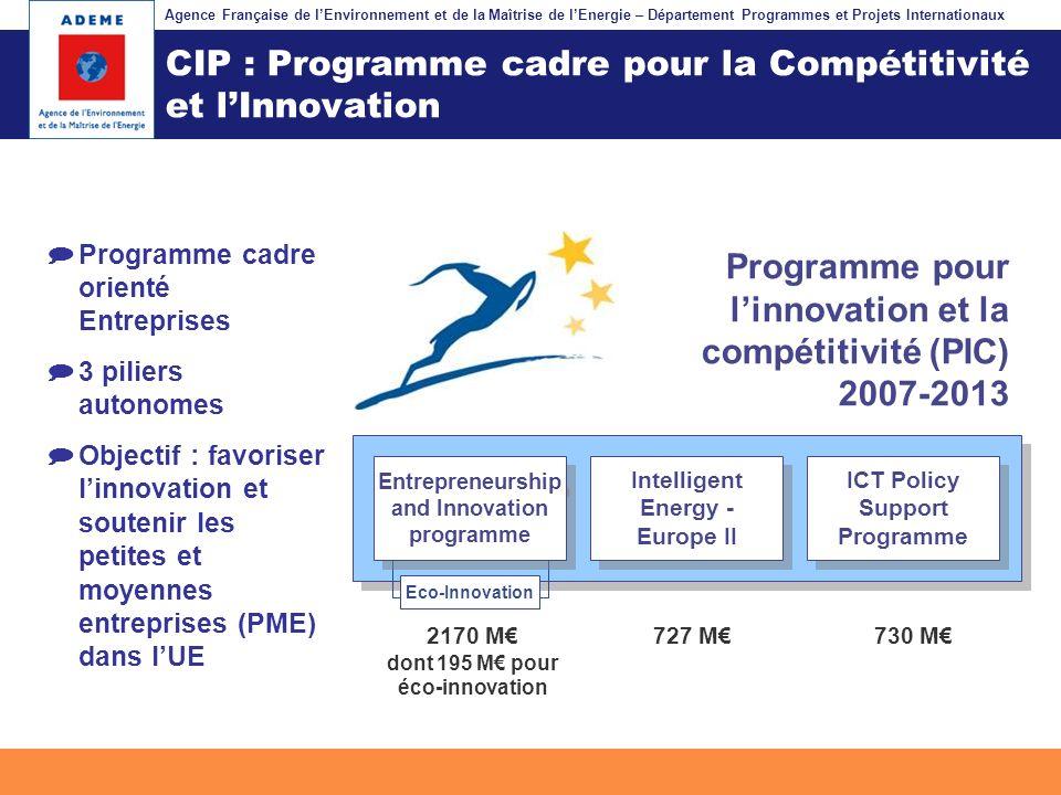 Agence Française de lEnvironnement et de la Maîtrise de lEnergie – Département Programmes et Projets Internationaux Fil dariane CIP : Programme cadre