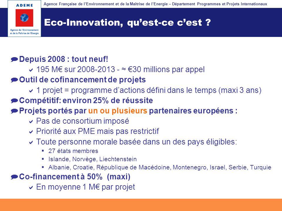 Agence Française de lEnvironnement et de la Maîtrise de lEnergie – Département Programmes et Projets Internationaux Fil dariane Eco-Innovation, quest-