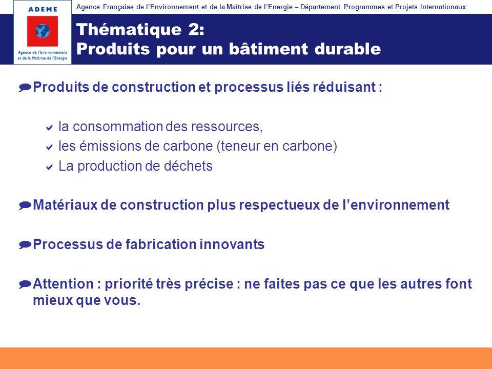 Agence Française de lEnvironnement et de la Maîtrise de lEnergie – Département Programmes et Projets Internationaux Fil dariane Thématique 2: Produits