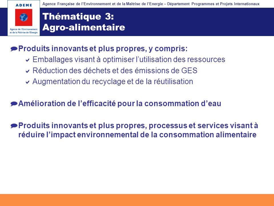 Agence Française de lEnvironnement et de la Maîtrise de lEnergie – Département Programmes et Projets Internationaux Fil dariane Thématique 3: Agro-ali