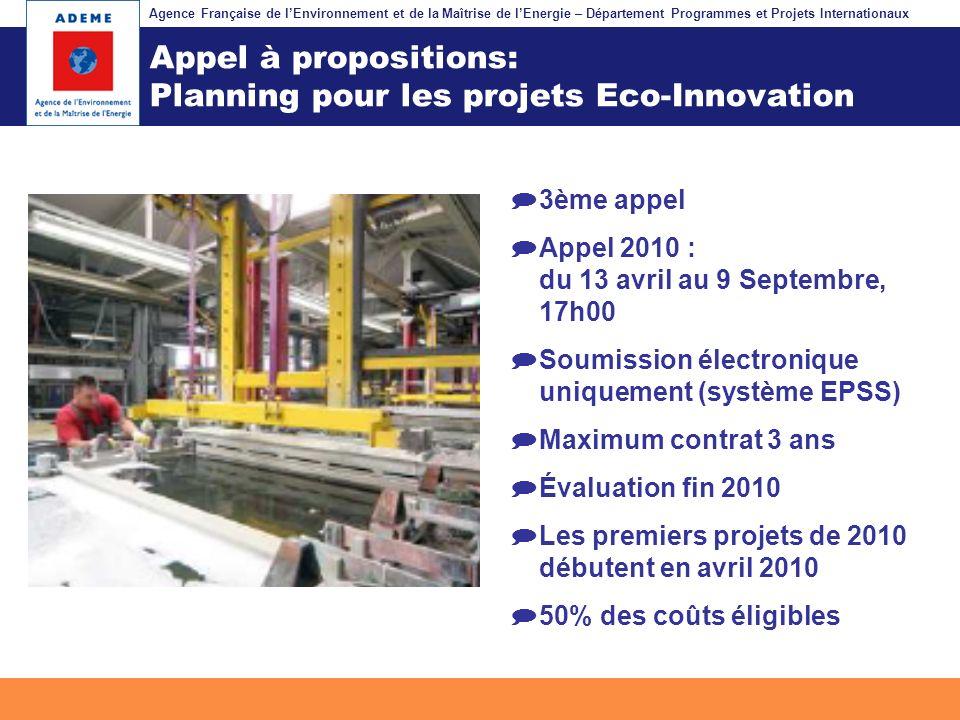 Agence Française de lEnvironnement et de la Maîtrise de lEnergie – Département Programmes et Projets Internationaux Fil dariane Appel à propositions: