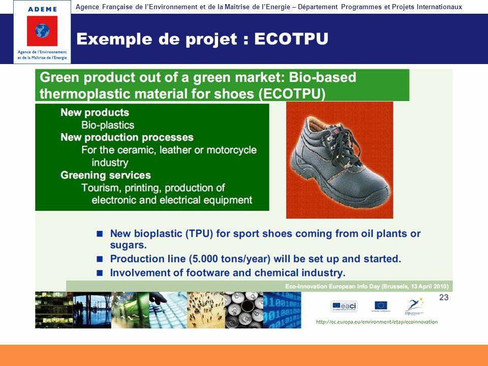 Agence Française de lEnvironnement et de la Maîtrise de lEnergie – Département Programmes et Projets Internationaux Fil dariane Exemple de projet : EC