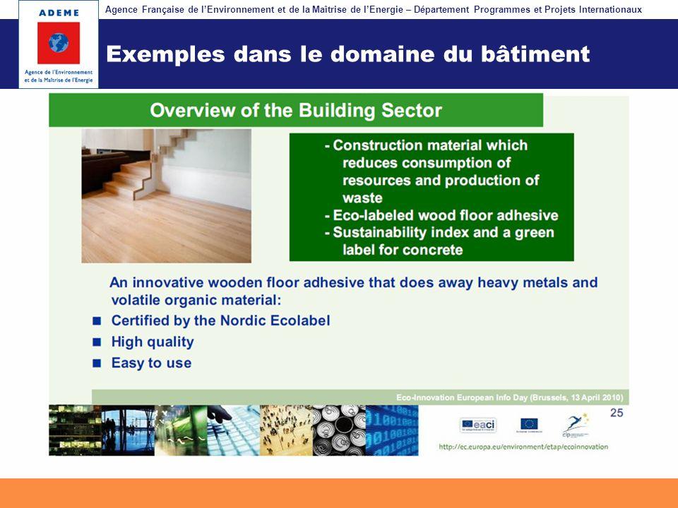 Agence Française de lEnvironnement et de la Maîtrise de lEnergie – Département Programmes et Projets Internationaux Fil dariane Exemples dans le domai