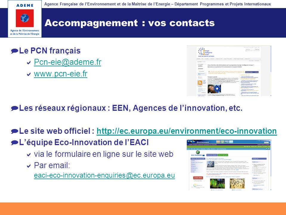 Agence Française de lEnvironnement et de la Maîtrise de lEnergie – Département Programmes et Projets Internationaux Fil dariane Accompagnement : vos c