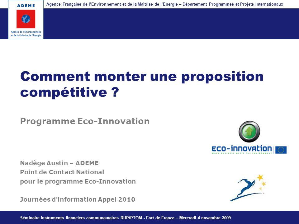 Agence Française de lEnvironnement et de la Maîtrise de lEnergie – Département Programmes et Projets Internationaux Fil dariane Comment monter une pro