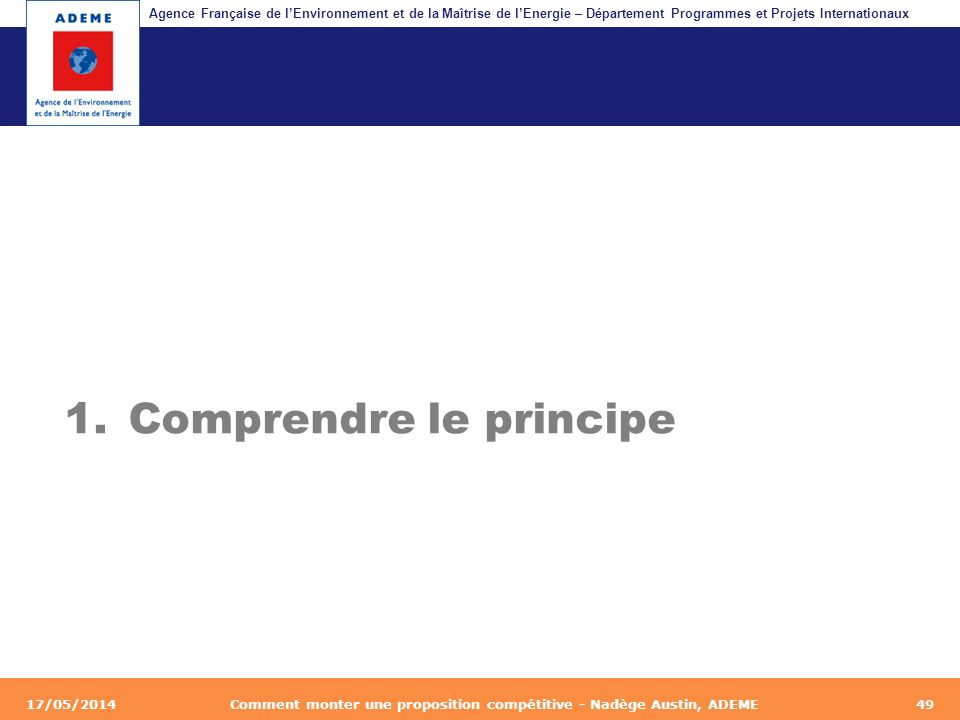 Agence Française de lEnvironnement et de la Maîtrise de lEnergie – Département Programmes et Projets Internationaux Fil dariane 17/05/2014Comment mont