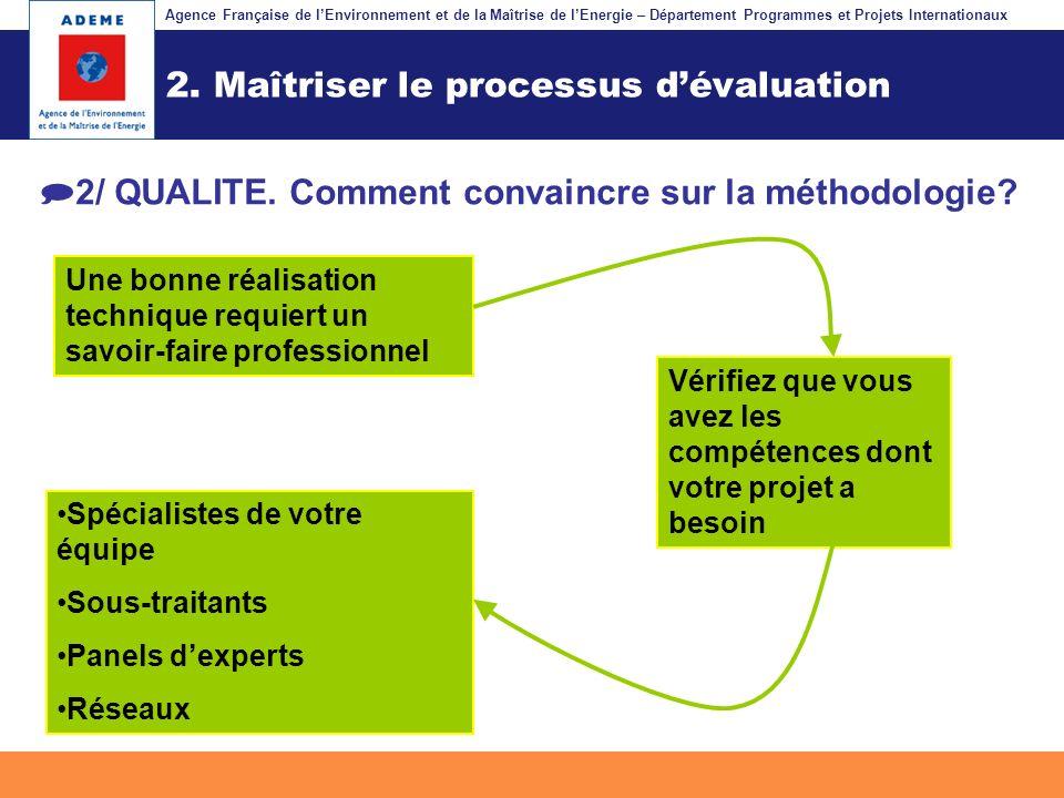 Agence Française de lEnvironnement et de la Maîtrise de lEnergie – Département Programmes et Projets Internationaux Fil dariane 2. Maîtriser le proces