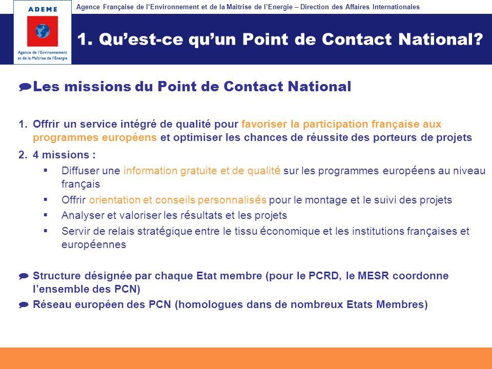 Agence Française de lEnvironnement et de la Maîtrise de lEnergie – Direction des Affaires Internationales Fil dariane 1.