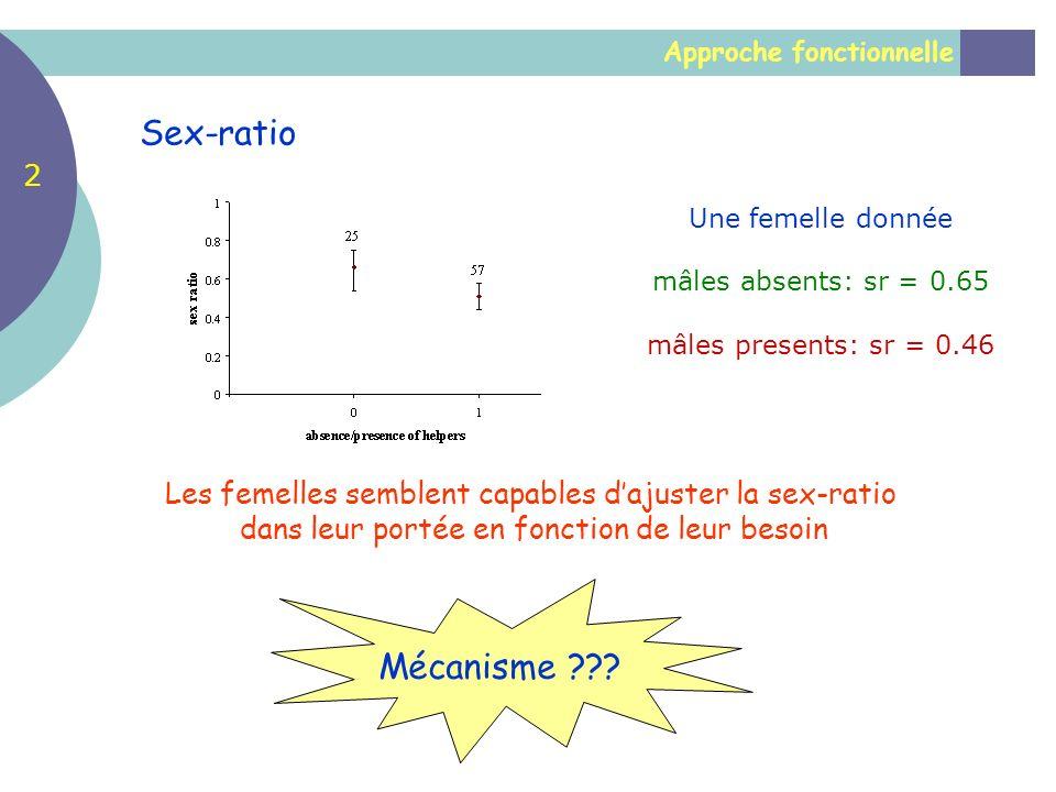 Approche fonctionnelle Sex-ratio Les femelles semblent capables dajuster la sex-ratio dans leur portée en fonction de leur besoin Une femelle donnée m