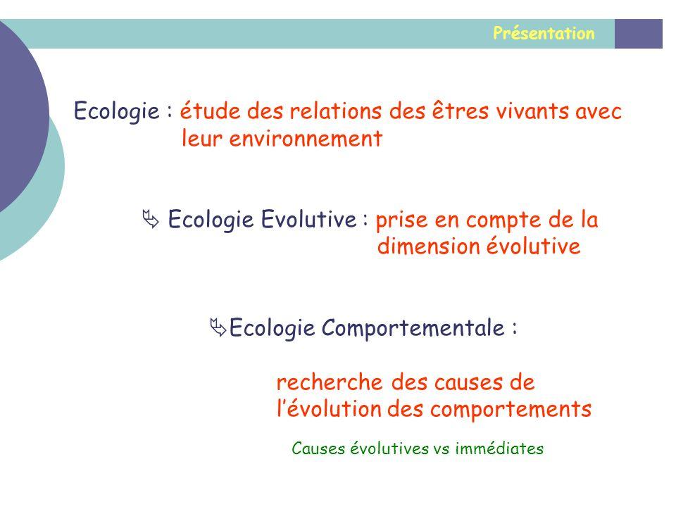 Présentation Ecologie : étude des relations des êtres vivants avec leur environnement Ecologie Evolutive : prise en compte de la dimension évolutive E