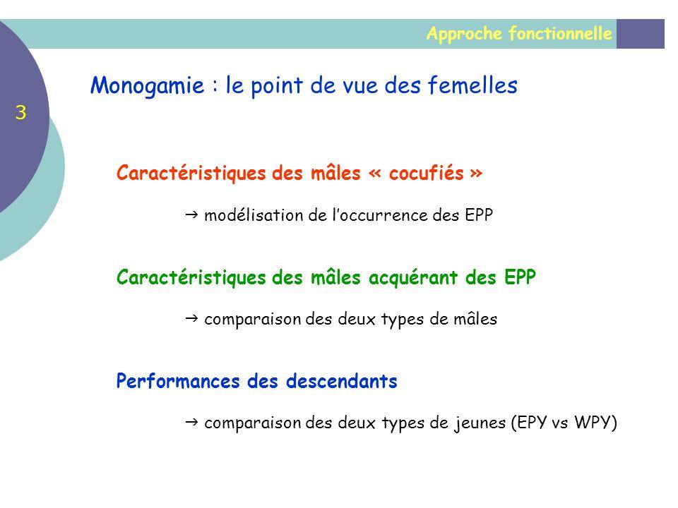 Approche fonctionnelle Monogamie Caractéristiques des mâles « cocufiés » modélisation de loccurrence des EPP Caractéristiques des mâles acquérant des