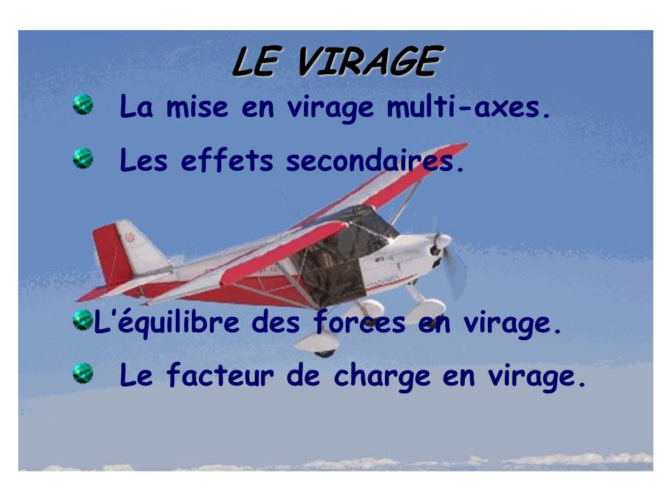 LE VIRAGE La mise en virage multi-axes. Les effets secondaires. Léquilibre des forces en virage. Le facteur de charge en virage.