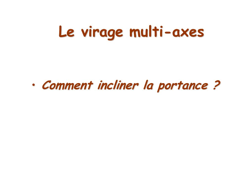 Le virage pendulaire Comment incliner la portance ?Comment incliner la portance ?