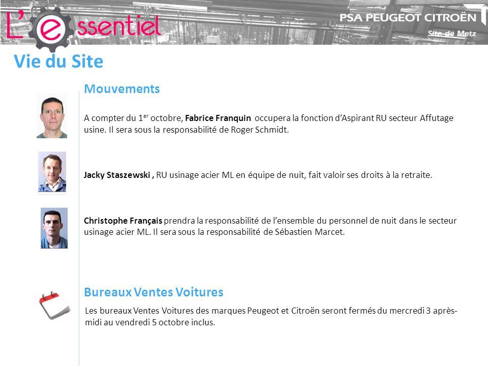 Vie du Site Mouvements A compter du 1 er octobre, Fabrice Franquin occupera la fonction dAspirant RU secteur Affutage usine.