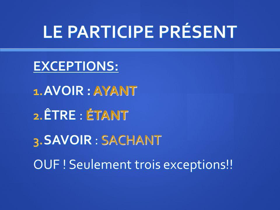 LE PARTICIPE PRÉSENT FORMATION: Mettez les verbes suivant au participe présent lire - choisir – faire – venir – partir – écrire. lisant – choisissant