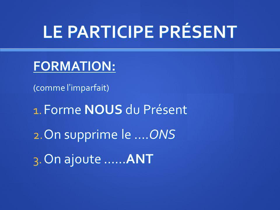 LE PARTICIPE PRÉSENT UTILISATION: Avec EN ----ANT 3.