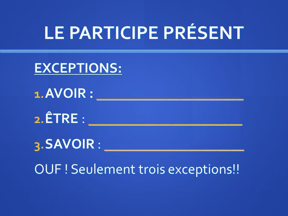 LE PARTICIPE PRÉSENT FORMATION: Mettez les verbes suivant au participe présent lire - choisir – faire – venir – partir – écrire.