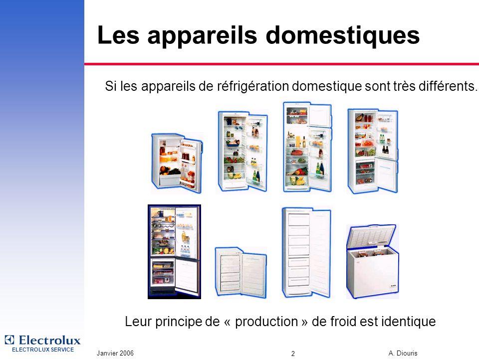 ELECTROLUX SERVICE Janvier 2006 A. Diouris 2 Les appareils domestiques Si les appareils de réfrigération domestique sont très différents. Leur princip