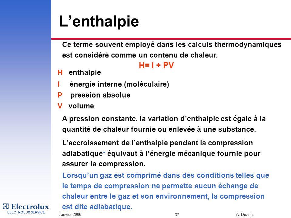 ELECTROLUX SERVICE Janvier 2006 A. Diouris 37 Lenthalpie Ce terme souvent employé dans les calculs thermodynamiques est considéré comme un contenu de