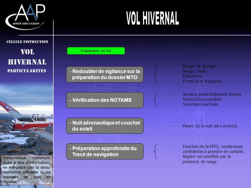 - Redoubler de vigilance sur la préparation du dossier MTO Préparation du vol - Vérification des NOTAMS - Nuit aéronautique et coucher du soleil - Pré