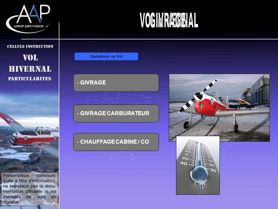 - GIVRAGE Opérations en Vol - GIVRAGE CARBURATEUR - CHAUFFAGE CABINE / CO