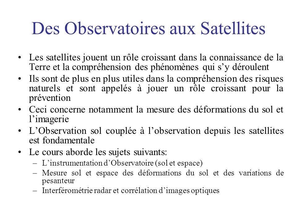 Des Observatoires aux Satellites Les satellites jouent un rôle croissant dans la connaissance de la Terre et la compréhension des phénomènes qui sy dé