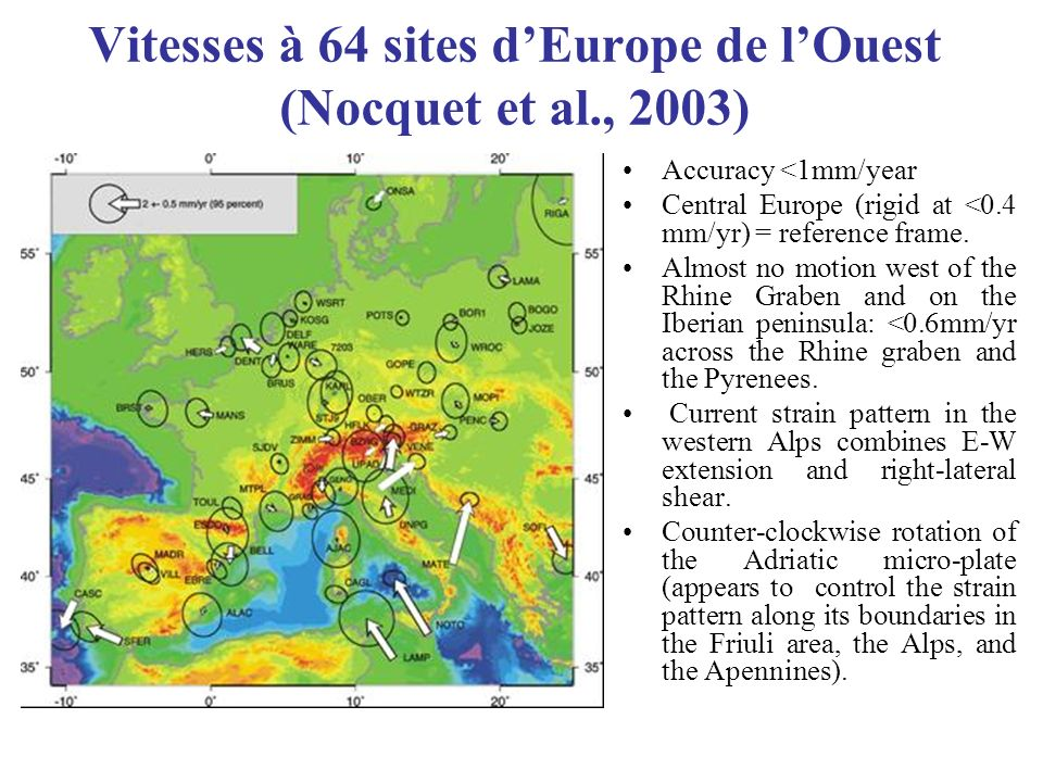 Vitesses à 64 sites dEurope de lOuest (Nocquet et al., 2003) Accuracy <1mm/year Central Europe (rigid at <0.4 mm/yr) = reference frame.