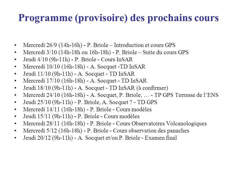 Programme (provisoire) des prochains cours Mercredi 26/9 (14h-16h) - P. Briole – Introduction et cours GPS Mercredi 3/10 (14h-18h ou 16h-18h) - P. Bri