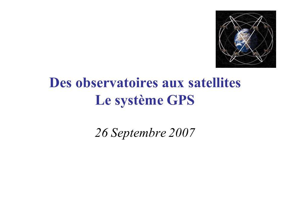 La constellation GPS (segment spatial) 24-satellite 26000km par rapport au centre de la Terre 2 orbites/jour Six plans orbitaux: –Inclinaison 55° sur léquateur –4 satellites par orbite