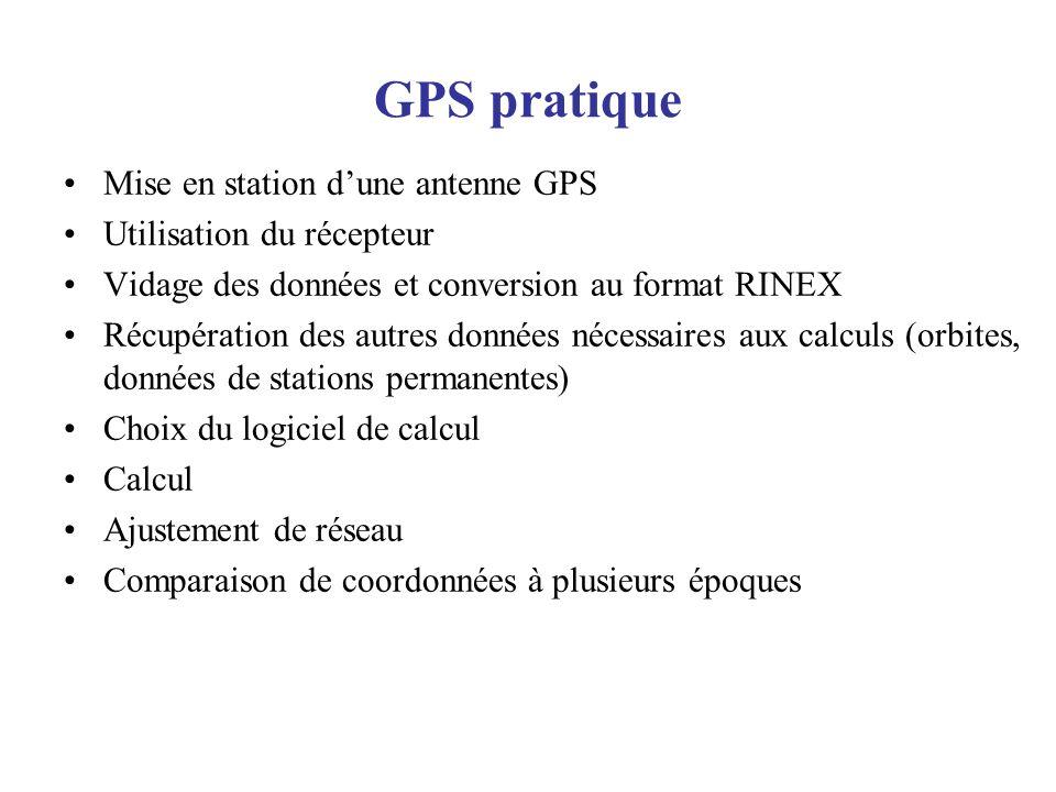 GPS pratique Mise en station dune antenne GPS Utilisation du récepteur Vidage des données et conversion au format RINEX Récupération des autres donnée