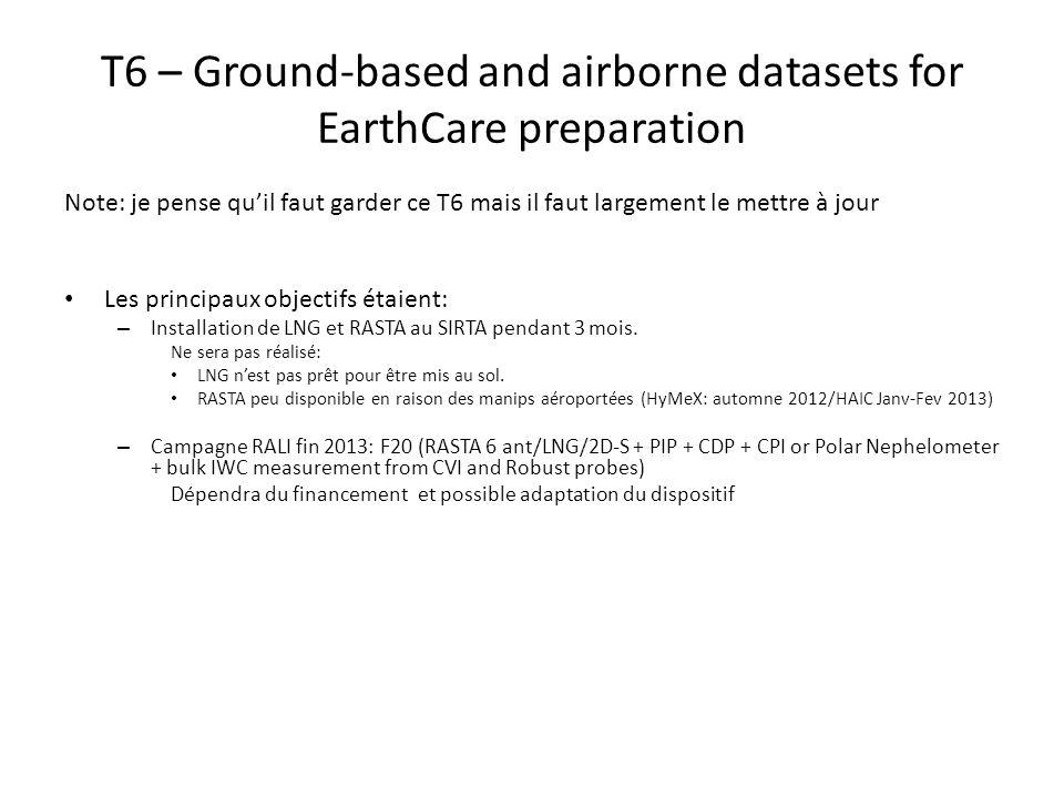 T6 – Ground-based and airborne datasets for EarthCare preparation Note: je pense quil faut garder ce T6 mais il faut largement le mettre à jour Les pr