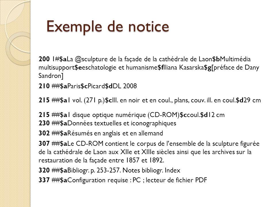 Exemple de notice 200 1#$aLa @sculpture de la façade de la cathédrale de Laon$bMultimédia multisupport$eeschatologie et humanisme$fIliana Kasarska$g[p
