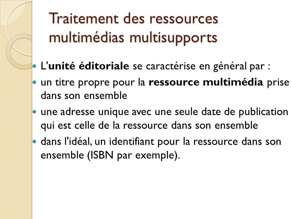 Traitement des ressources multimédias multisupports L'unité éditoriale se caractérise en général par : un titre propre pour la ressource multimédia pr