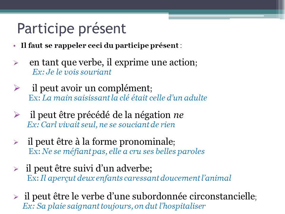 Participe présent Il faut se rappeler ceci du participe présent : en tant que verbe, il exprime une action ; Ex: Je le vois souriant il peut avoir un