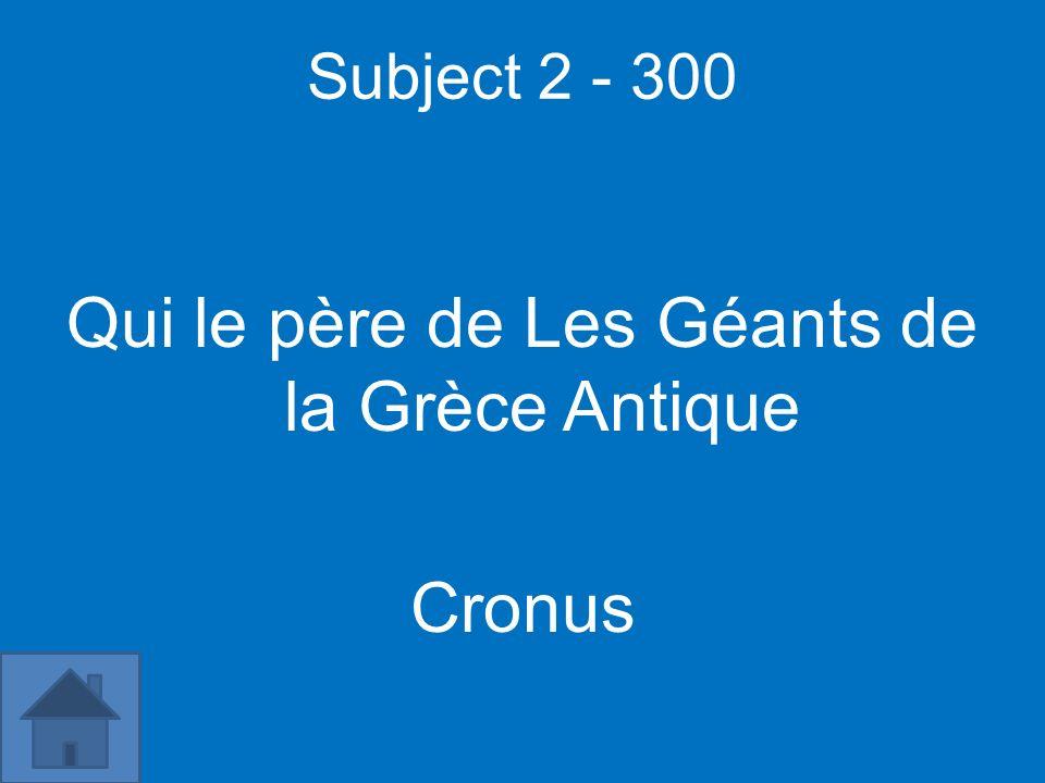 Subject 2 - 300 Qui le père de Les Géants de la Grèce Antique Cronus