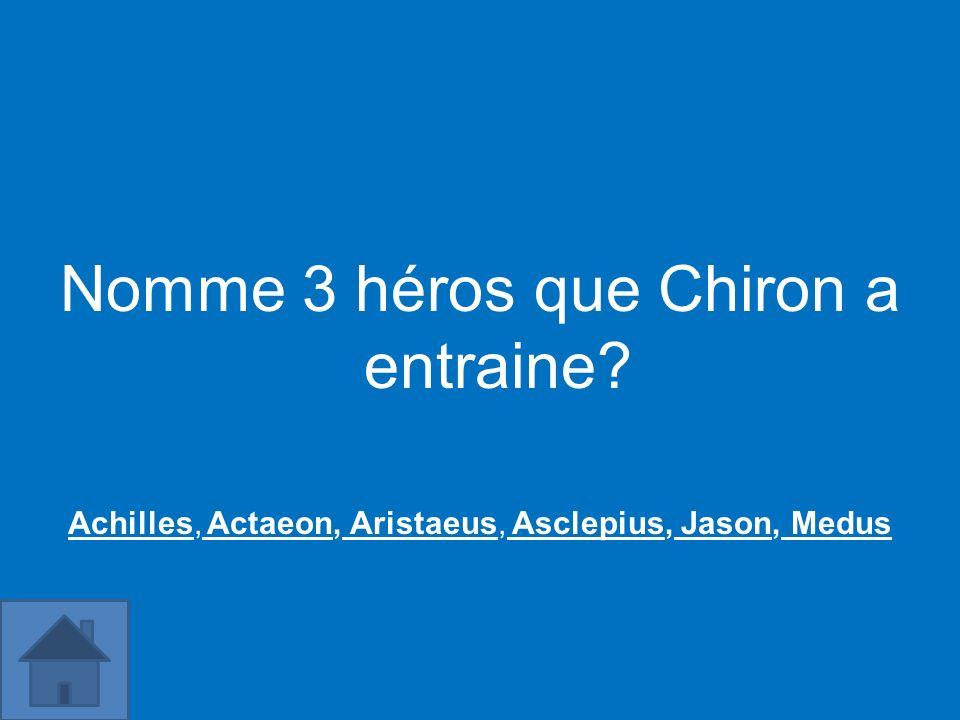 Nomme 3 héros que Chiron a entraine? AchillesAchilles, Actaeon, Aristaeus, Asclepius, Jason, Medus Actaeon Aristaeus Asclepius Jason Medus