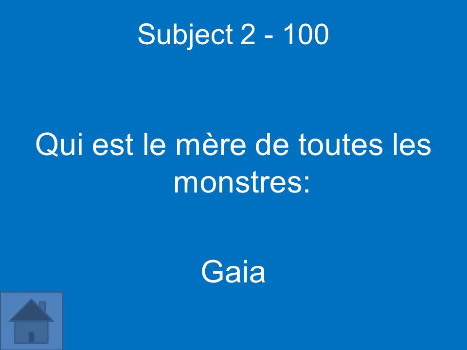 Subject 2 - 100 Qui est le mère de toutes les monstres: Gaia