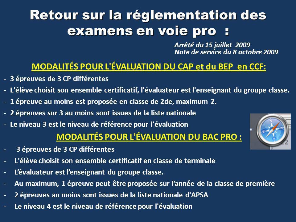MODALITÉS POUR L ÉVALUATION DU CAP et du BEP en CCF: -3 épreuves de 3 CP différentes -L élève choisit son ensemble certificatif, l évaluateur est l enseignant du groupe classe.