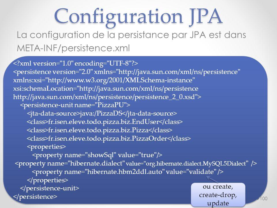 Configuration JPA La configuration de la persistance par JPA est dans META-INF/persistence.xml 100 <persistence version=