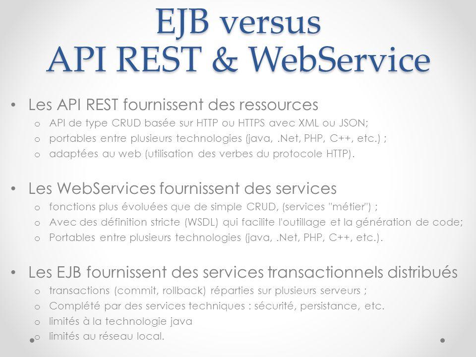 EJB versus API REST & WebService Les API REST fournissent des ressources o API de type CRUD basée sur HTTP ou HTTPS avec XML ou JSON; o portables entr