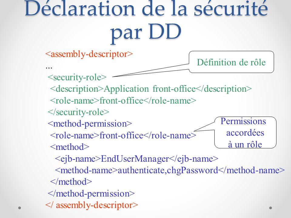 Déclaration de la sécurité par DD...