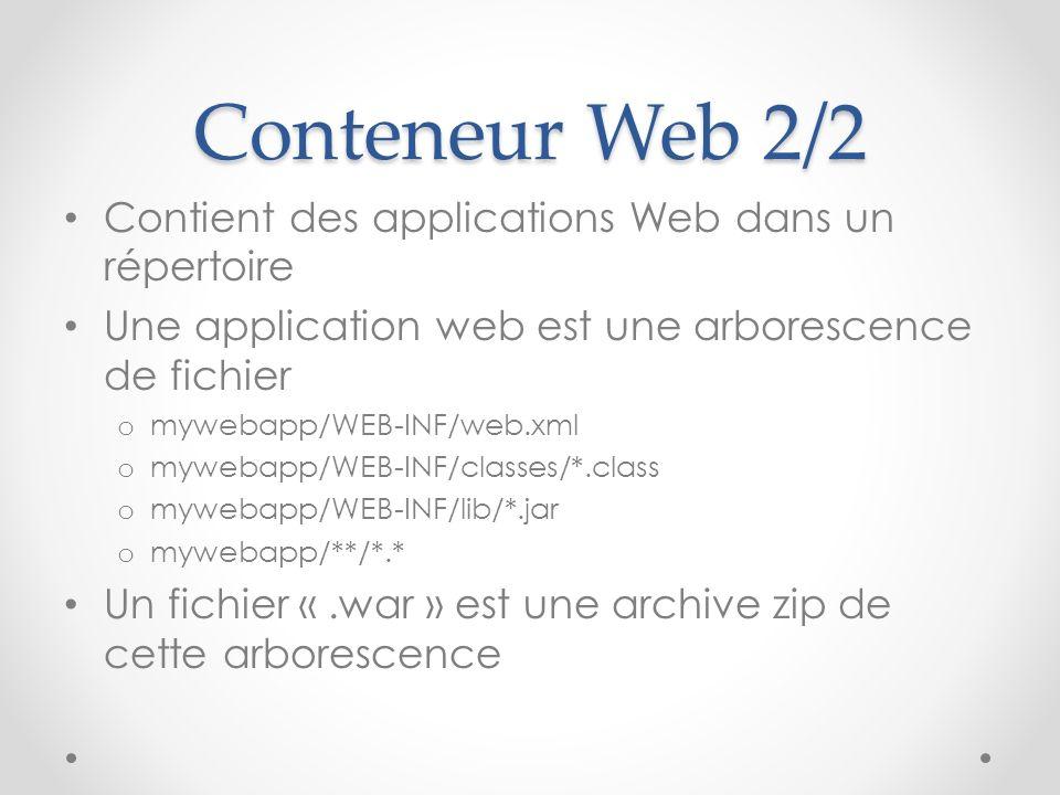 Conteneur Web 2/2 Contient des applications Web dans un répertoire Une application web est une arborescence de fichier o mywebapp/WEB-INF/web.xml o my