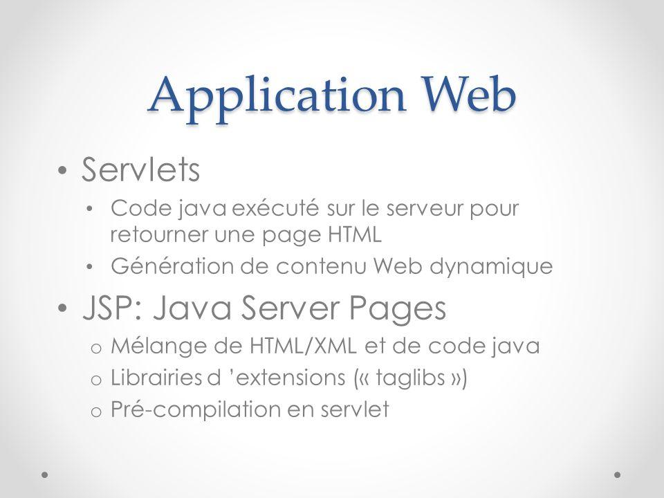 Application Web Servlets Code java exécuté sur le serveur pour retourner une page HTML Génération de contenu Web dynamique JSP: Java Server Pages o Mé