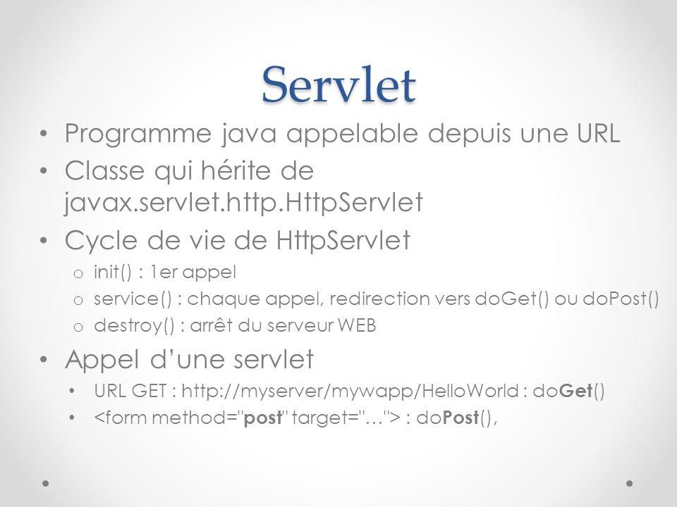 Servlet Programme java appelable depuis une URL Classe qui hérite de javax.servlet.http.HttpServlet Cycle de vie de HttpServlet o init() : 1er appel o